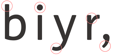The 'b', 'i', 'y' and 'r' letters of the Just Sans body copy font, with accessibility features circled.