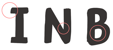 The 'I', 'N' and 'B' letters of the Just Script header font, with accessibility features circled.