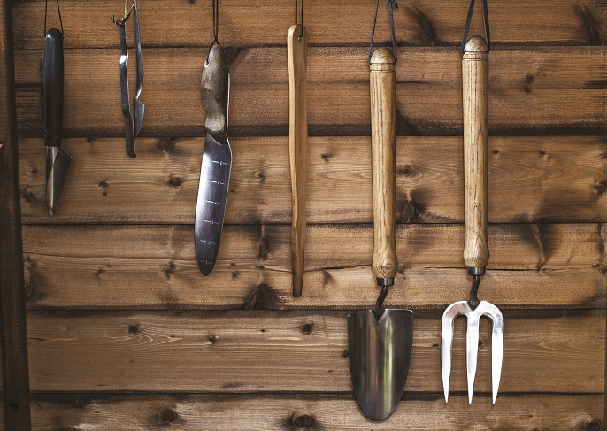 Gardening tools in the shed